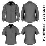 men's button down shirt long... | Shutterstock .eps vector #263152154