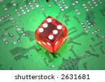 red dices and circuit board ...   Shutterstock . vector #2631681