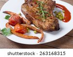 closeup of grilled steak with... | Shutterstock . vector #263168315