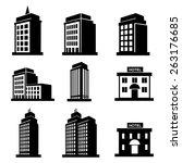 hotel and condominium icons... | Shutterstock .eps vector #263176685
