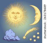 Hand Drawn Sun And The Moon.8...