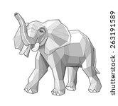 elephant. low polygon linear... | Shutterstock .eps vector #263191589