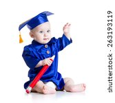 Small photo of Smart baby with big pencil in academician clothes