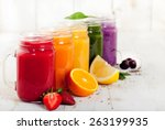 smoothies  juices  beverages ... | Shutterstock . vector #263199935