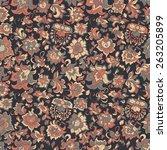 ethnic flowers seamless vector... | Shutterstock .eps vector #263205899