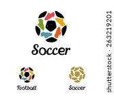 hand drawn logo soccer ball and ... | Shutterstock .eps vector #263219201