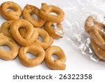 Close up shot of Italian taralli, traditional bakery product - stock photo