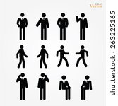 set of business man icon ... | Shutterstock .eps vector #263225165