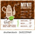 coffee menu design in vintage... | Shutterstock .eps vector #263225969
