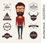 hipster style character with... | Shutterstock .eps vector #263235011