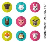 Set Of Cute Animals Icons With...