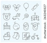 baby thin line icons for web... | Shutterstock .eps vector #263240327