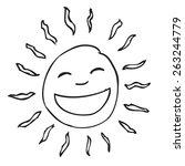 smile sun doodle | Shutterstock .eps vector #263244779
