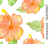 hibiscus flowers  vector... | Shutterstock .eps vector #263249867
