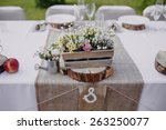 wild flowers in a wooden tub... | Shutterstock . vector #263250077