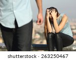 breakup of a couple with bad... | Shutterstock . vector #263250467
