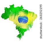 scribble stylized map of brasil.... | Shutterstock . vector #263252195