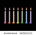 birthday candles flame fire... | Shutterstock .eps vector #263261111