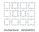 set of 12 rich decorated... | Shutterstock .eps vector #263264021