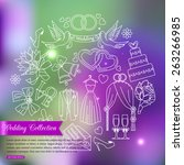 wedding outline icons set over... | Shutterstock .eps vector #263266985