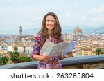 happy young woman with map... | Shutterstock . vector #263285804