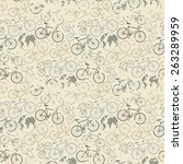 vector seamless bicycle grunge... | Shutterstock .eps vector #263289959