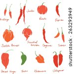 Set Of Different Chili Peppers...