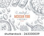 Mexican Food Frame. Linear graphic. Vector illustration | Shutterstock vector #263330039
