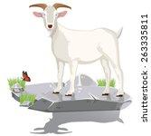 Illustration.  Goat On Stone