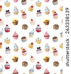 seamless cupcakes. watercolor... | Shutterstock . vector #263338139