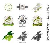 set of olive oil labels logos... | Shutterstock . vector #263344439