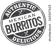 mexican burritos stamp | Shutterstock .eps vector #263347625