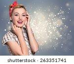 megaphone  women  shouting. | Shutterstock . vector #263351741