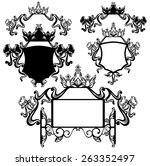 crown and bow decorated shields ... | Shutterstock .eps vector #263352497