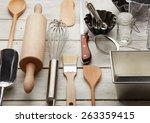 kitchen baking utensils against ... | Shutterstock . vector #263359415