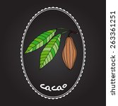 cacao fruits and leaves   Shutterstock .eps vector #263361251
