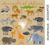 funny wild animals of africa.... | Shutterstock .eps vector #263364935