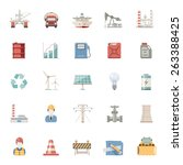 flat icons    industry energy... | Shutterstock .eps vector #263388425
