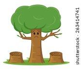 Deforestation awareness, sad tree