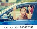 Side Door View Woman Driver...