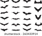 bats collection isolated on... | Shutterstock .eps vector #263433914