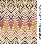 zigzag hand painted pattern | Shutterstock . vector #263434247