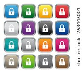 lock metallic square buttons | Shutterstock .eps vector #263446001