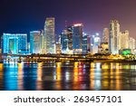 downtown miami  night city | Shutterstock . vector #263457101