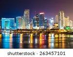 downtown miami  night city   Shutterstock . vector #263457101
