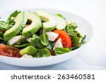 fresh salad with chicken ... | Shutterstock . vector #263460581