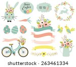 Set Of Easter Elements. Vector...