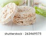 Four Plain Rice Cakes On White...