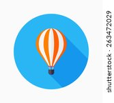 Hot Air Balloon Flat Icon With...