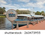 Small photo of ADELAIDE, AUSTRALIA - January 31 2015:The Popeye cruise boat on the Torrens Lake in Adelaide. A popular tourist attraction which takes visitors on cruises on the Torrens Lake.